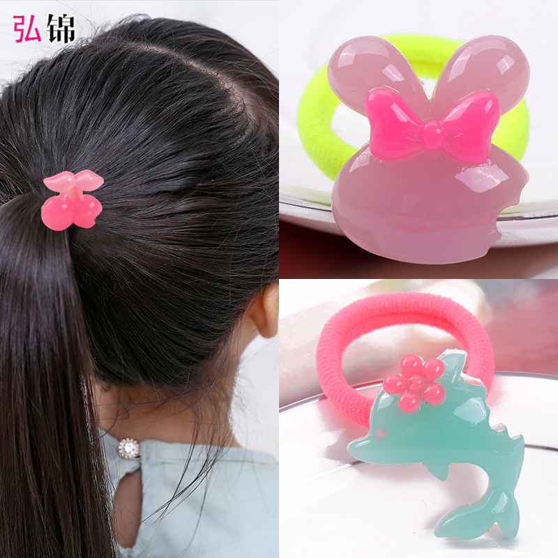 Cute cartoon children's candy colored hair rope korean hongjin seamless rubber band hair ring tousheng baby girls head ornaments