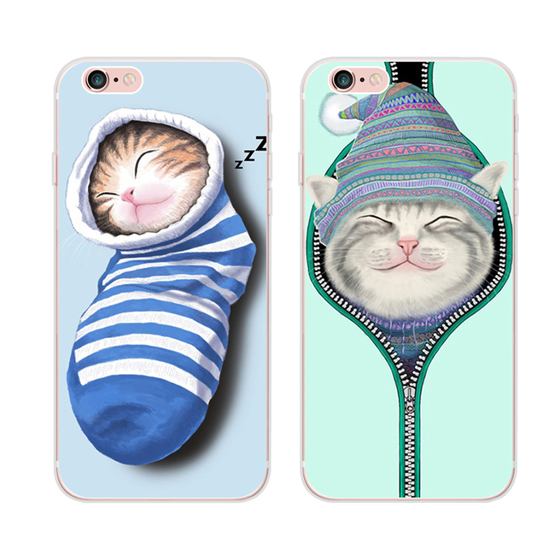 Cute cartoon mobile phone shell apple iphone6s phone shell cat 6splus full relief package of silica gel soft korea