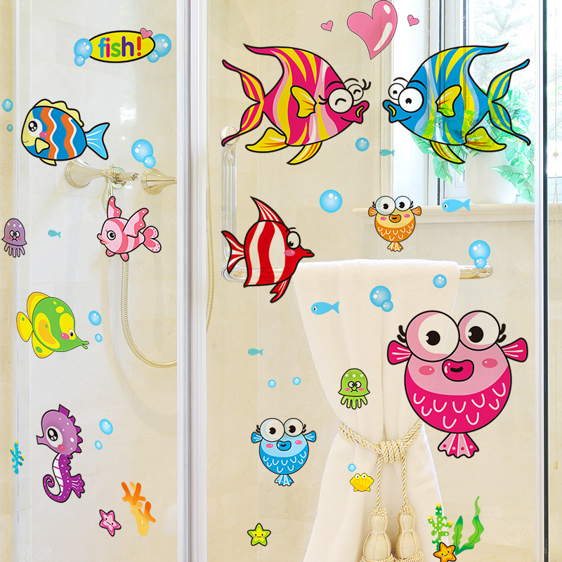 Cute cartoon wall stickers fish bedroom bathroom wall stickers decorative glass tile bathroom waterproof marine