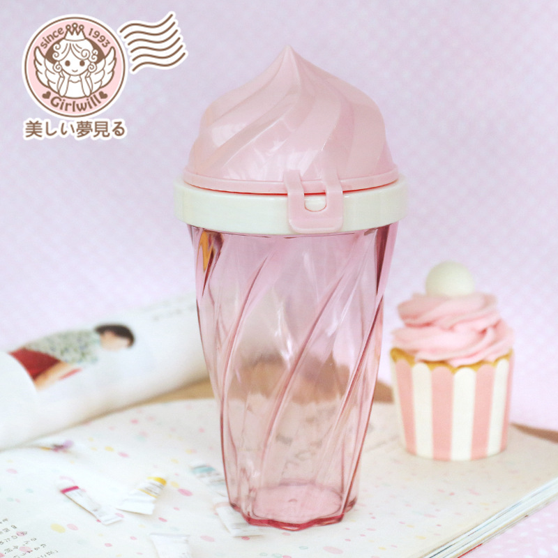 Cute ice cream transparent portable cup readily cup plastic cup with lid creative fashion to send students girls