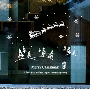 Cute personalized holiday christmas shopping window glass wall stickers cartoon santa claus christmas tree klimts