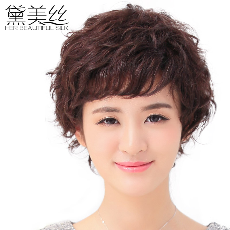 Dai meisi middle-aged female short hair wigs short curly hair fluffy female short hair wig real hair wig