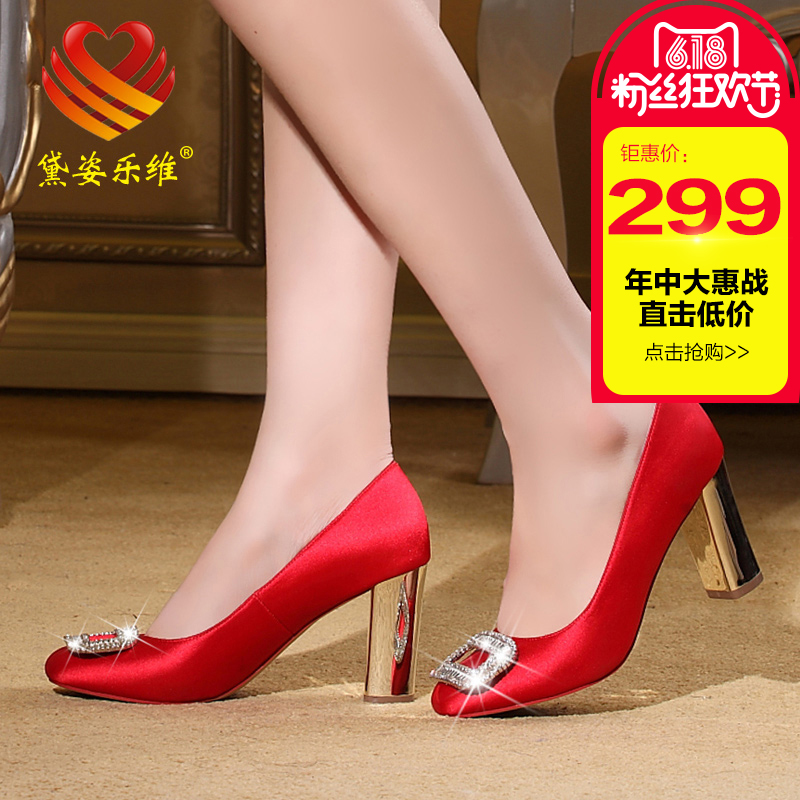 Dai zi levay rhinestone crystal l round women shoes thick with high heels shoes red bridal shoes wedding shoes shoes