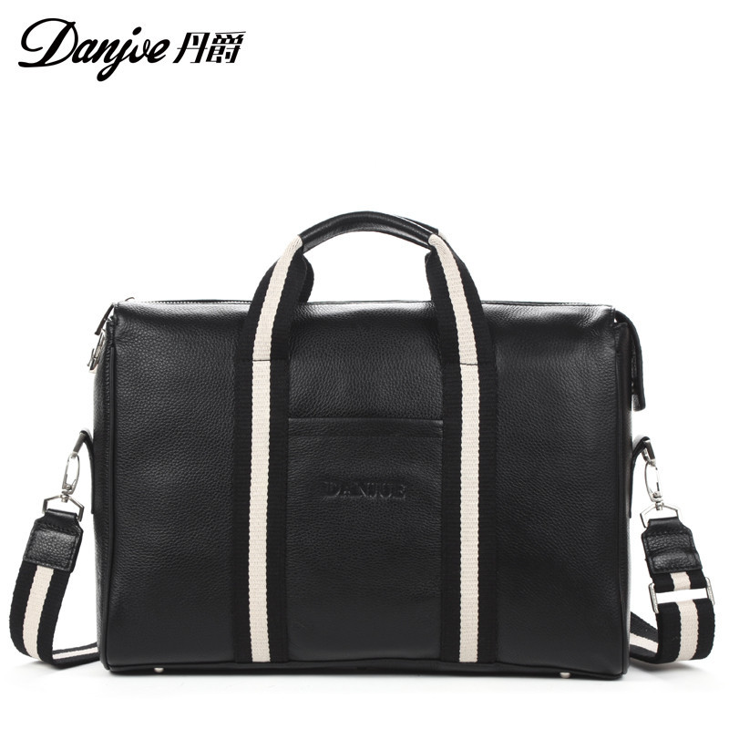 Dan jue new authentic cross section cowhide leather business bag leather man bag computer bag with thick code lock