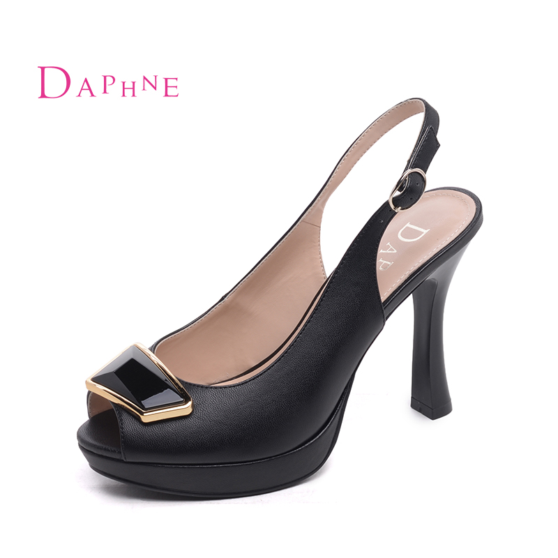 353e978be Get Quotations · Daphne 2016 new shallow mouth commuter fashion sandals fish  head fine pu buckle super high heels