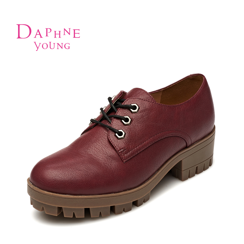 Daphne/daphne 2015 autumn british round lace deep mouth shoes in with a single shoe 1515404024
