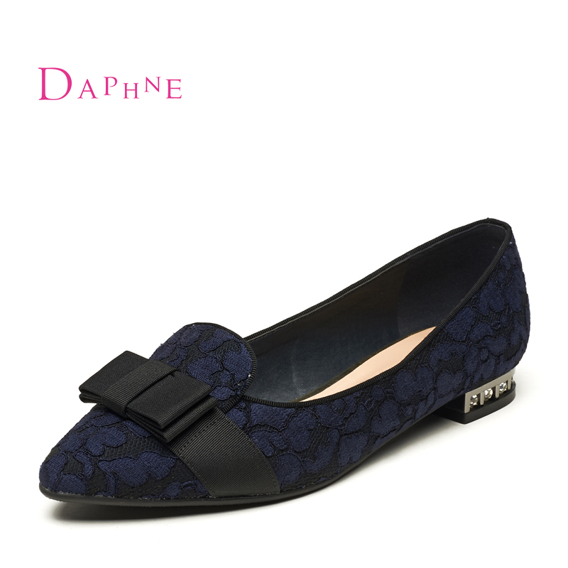 Daphne/daphne 2015 autumn tip low heel rough with a single shoe lace rhinestone shoes 1016201144