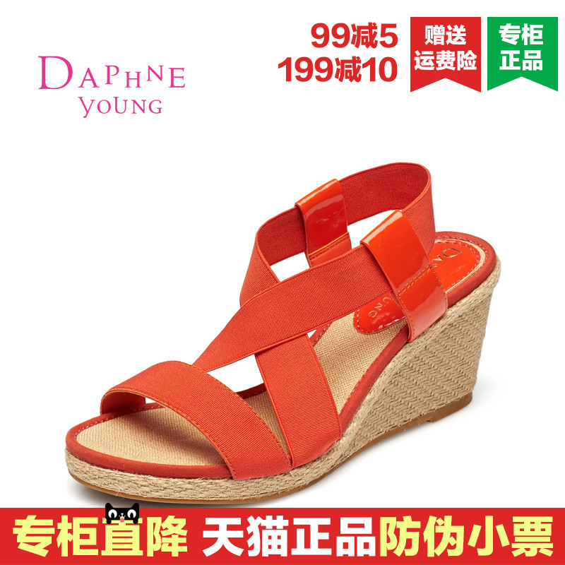 Daphne/daphne 2016 summer new slope with waterproof women's elastic strap sandals open toe sandals