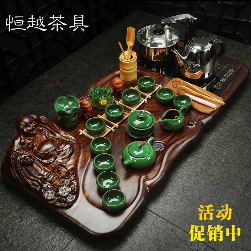 David carse binglie purple kung fu tea set special four cooker tea black stone wood tea tray tea sea