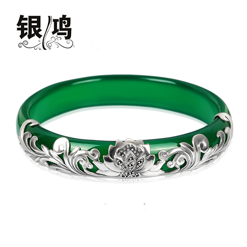 David silver 925 silver jewelry inlaid natural green agate silver retro bangkok thai silver bracelet female models bracelets reniforme