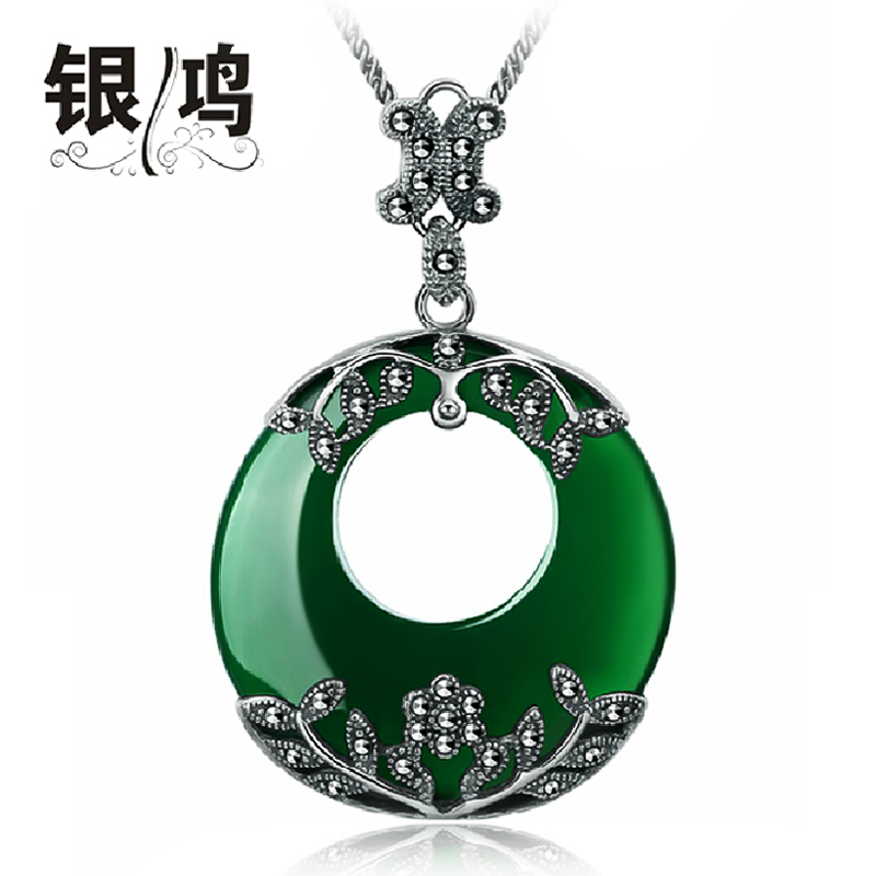 David silver 925 silver jewelry natural green manao tai silver retro big red garnet pendant female models pendant