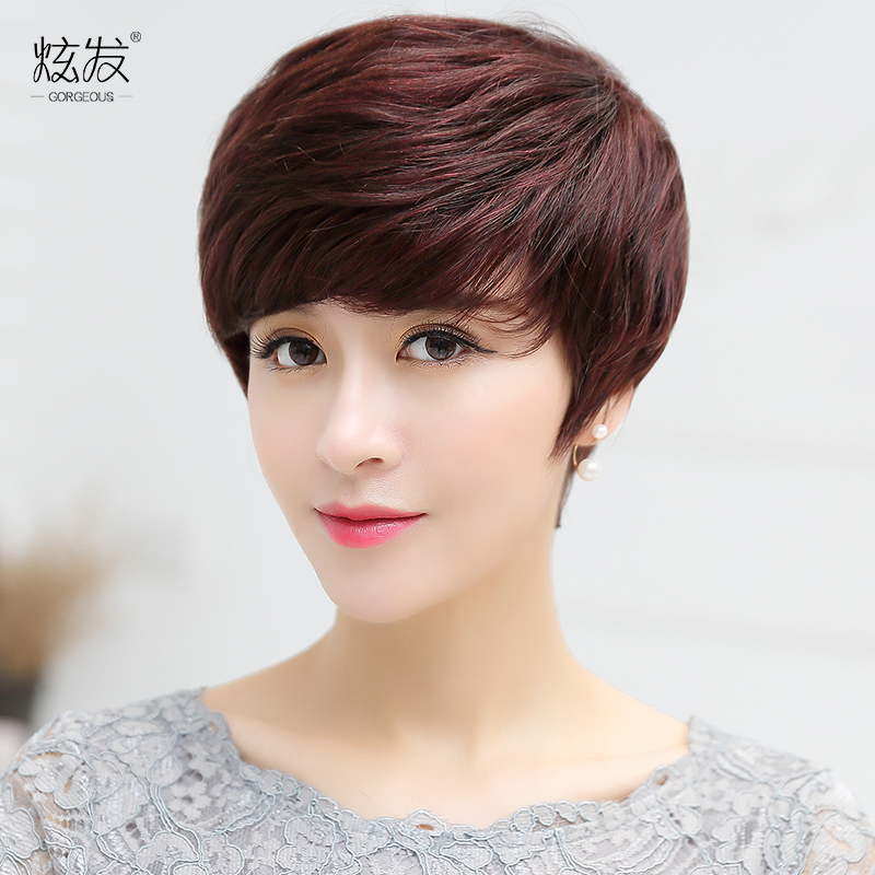 Dazzle hair real hair wig middle-aged mother wig wig short hair female short hair fluffy wig lifelike female