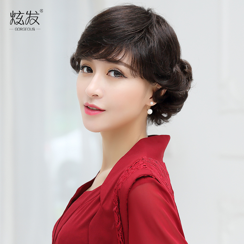 Dazzle hair real hair wig middle-aged woman with short hair wig mom entire top wig fashion wig hair female hair
