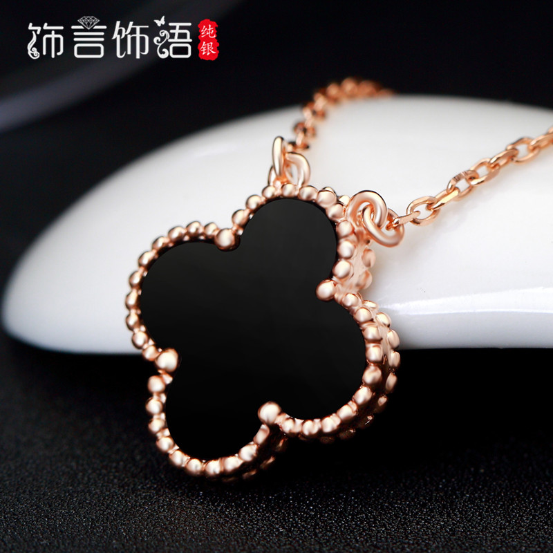 Decorative ornaments made by the language of 925 color silver rose gold necklace korean minimalist clover sided a temperament female clavicle chain