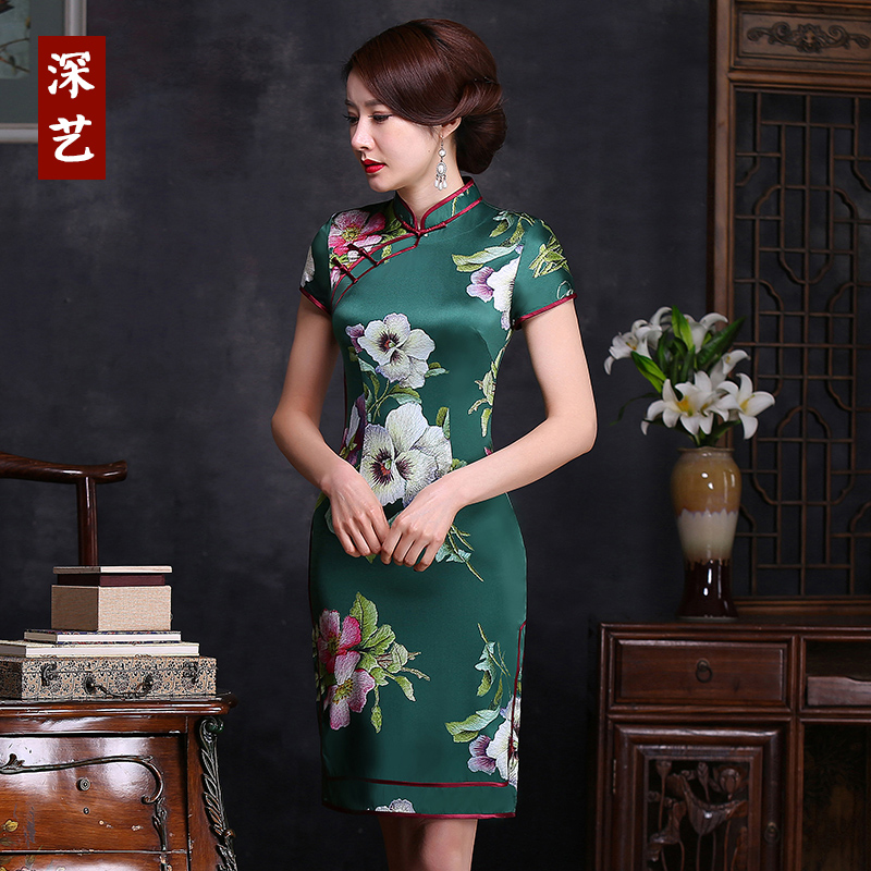 Deep arts cheongsam dress 2016 summer and installed the new mulberry silk cheongsam dress short paragraph slim regards women improved
