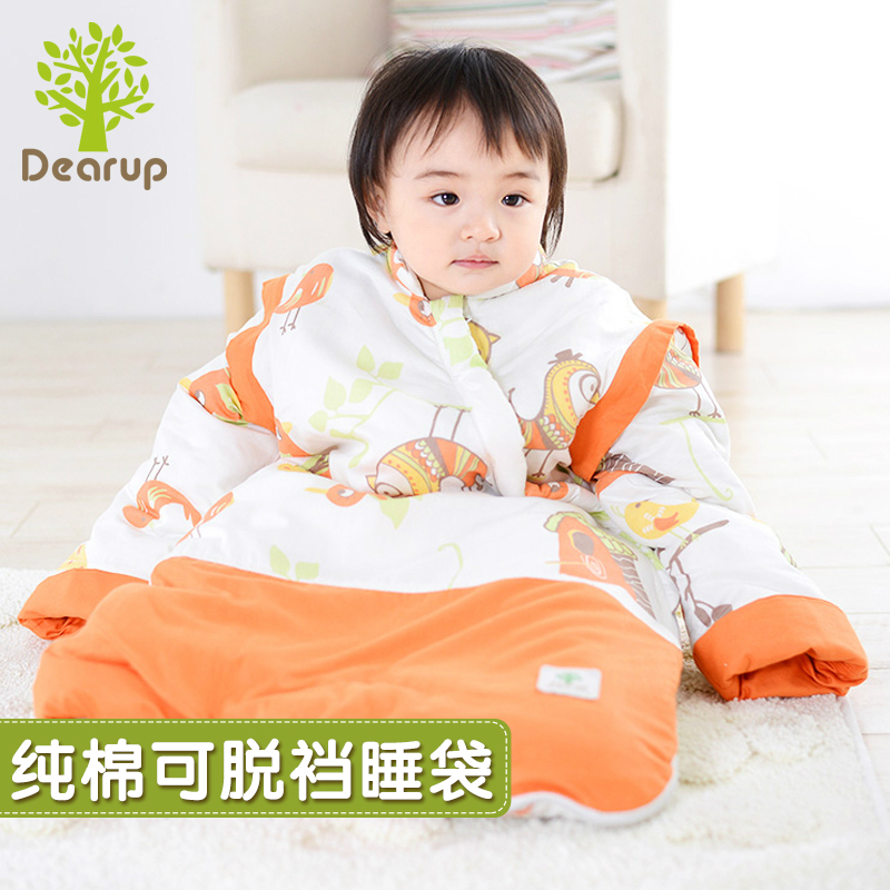 Deere superior product baby sleeping bag with detachable sleeves child anti tipi detachable bile baby in autumn and winter natural cotton looper