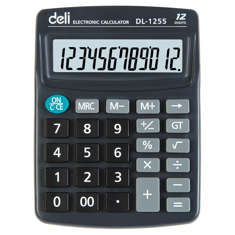 Deli 1255 desktop calculator finance office dedicated calculator 12 large screen display computer
