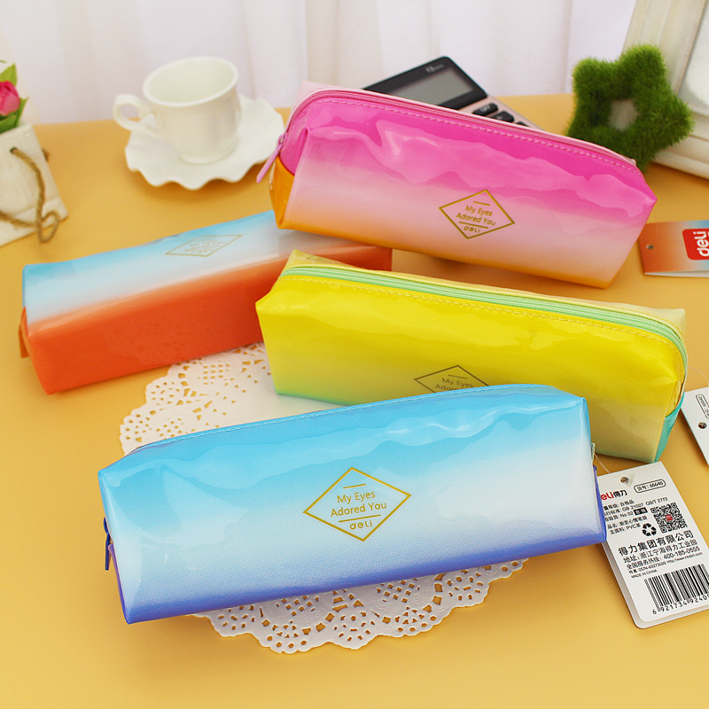 Deli 66640 korean cute pencil case pencil bag stationery simple gradient mood sugar fruit color storage bag