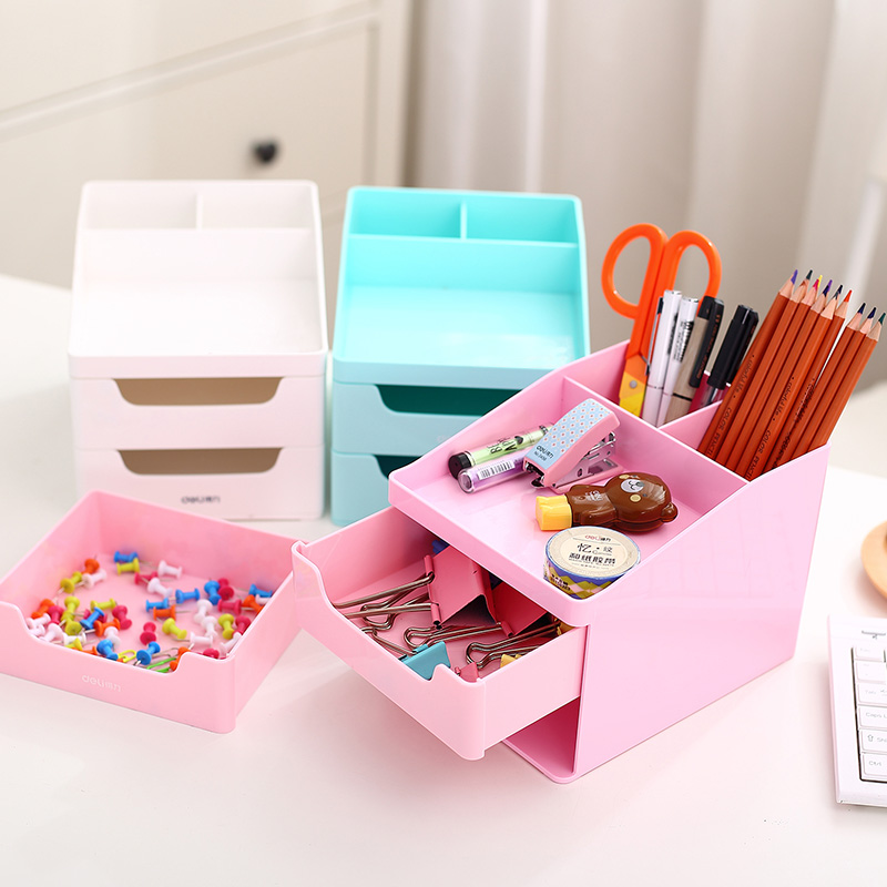 Deli 8900/01 multifunction pen storage box desktop storage box plastic models korea creative fashion office