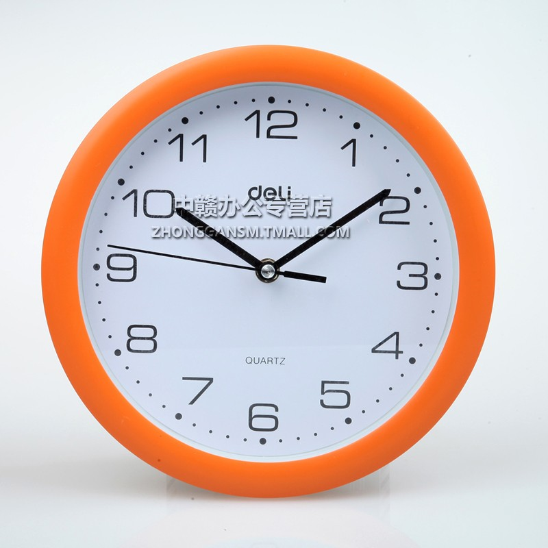 Deli 9003 round wall clock wall clock diameter 25cm go mute when fashion design home office