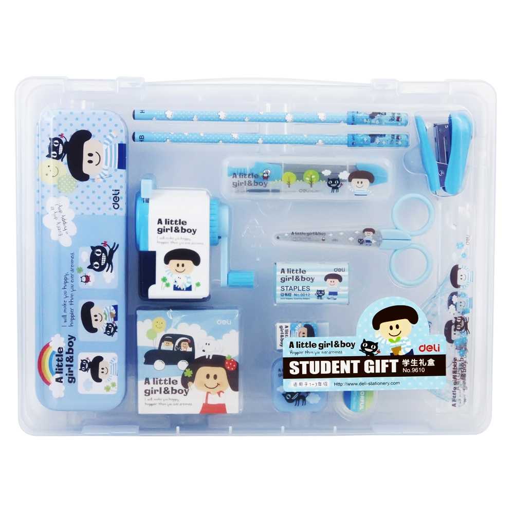 Deli 9610 pupils prizes korea creative stationery gift birthday gift for children cartoon suit
