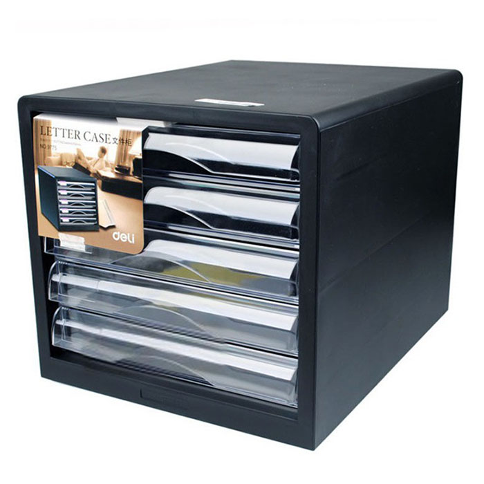Deli 9775 desktop file cabinet storage cabinet collate office with 5 layers of plastic drawers without lock