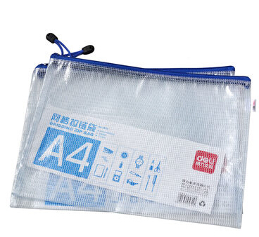 Deli (deli) 5654-A4 mesh zipper bag document bag edge bags mesh bags single