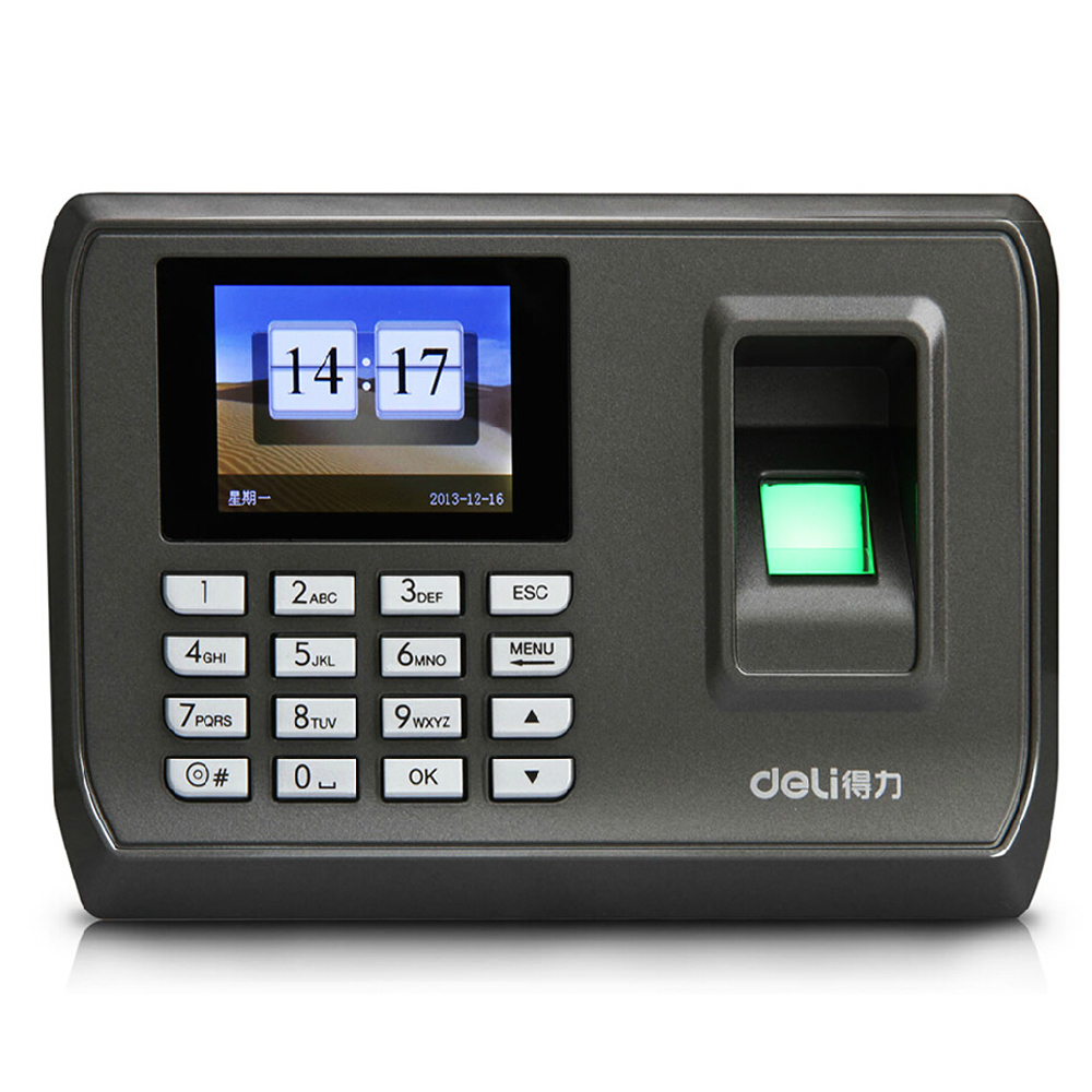 Deli deli attendance software free installation fingerprint punch card machine color voice attendance machine office supplies free shipping