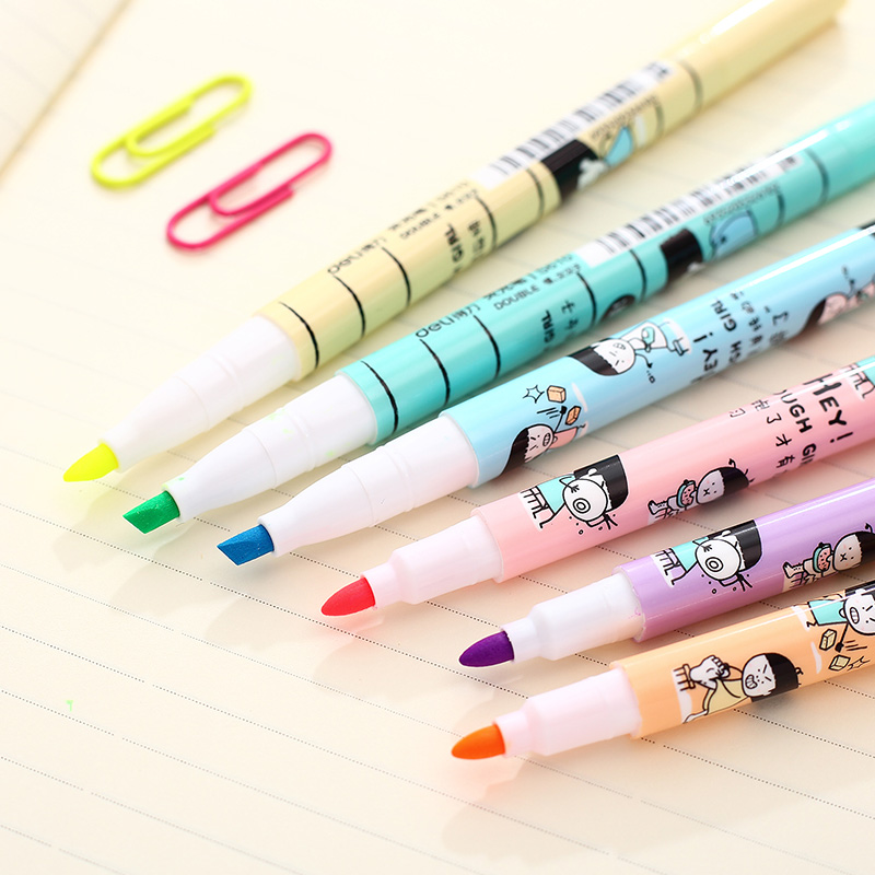 Deli deli s610 headed highlighter 6 colors focus highlighter marker pen woman man series of students of color fluorescent marker pen