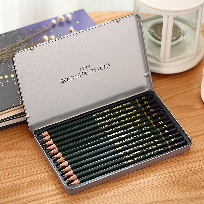 Deli deli S949 3æ¯suit pencil sketch 12 beginner student professional art drawing pencil tin