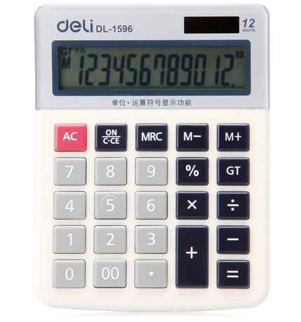 Deli deli solar calculator 12 big screen office 1596A computer finance special white