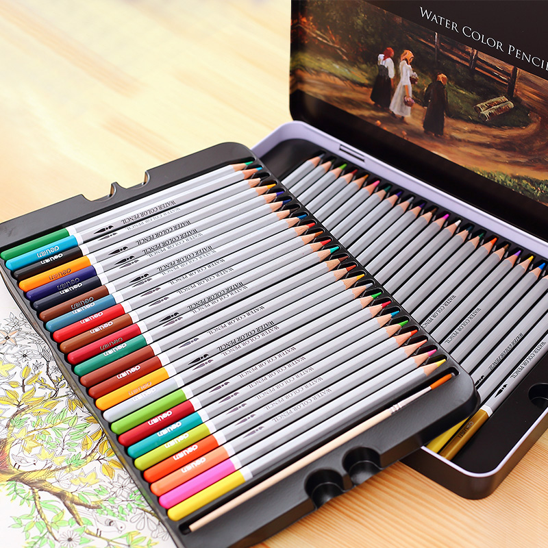 Deli deli tin soluble color of lead 48 color pencil color pen painted painting coloring book color pencil new