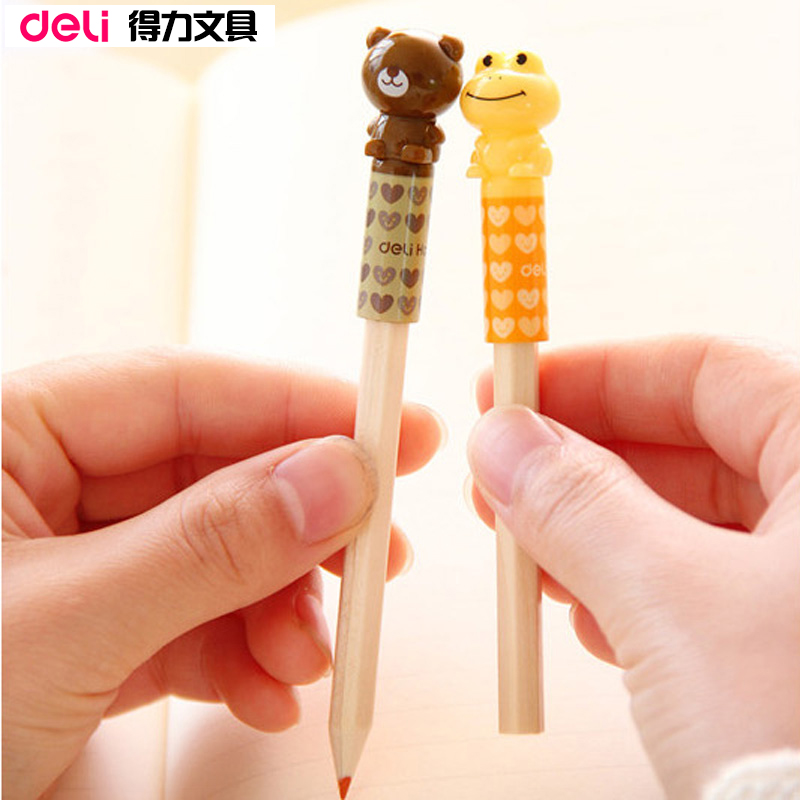Deli korea cute pencil cap sleeve pencil extender wobi protective cover creative students supplies