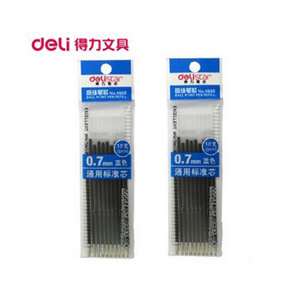 Deli stationery office 6959 push type blue ballpoint pen refills for the core of warheads 0.7mm 10 pcs/bag