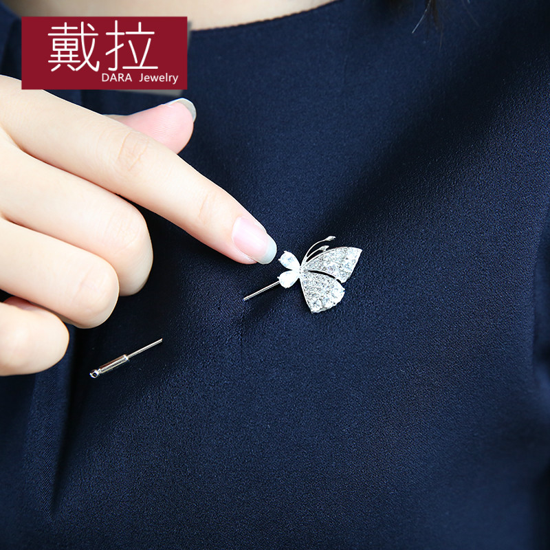 Della jewelry crystal butterfly brooch pin buckle corsage brooch female korean fashion dress temperament fall and winter accessories