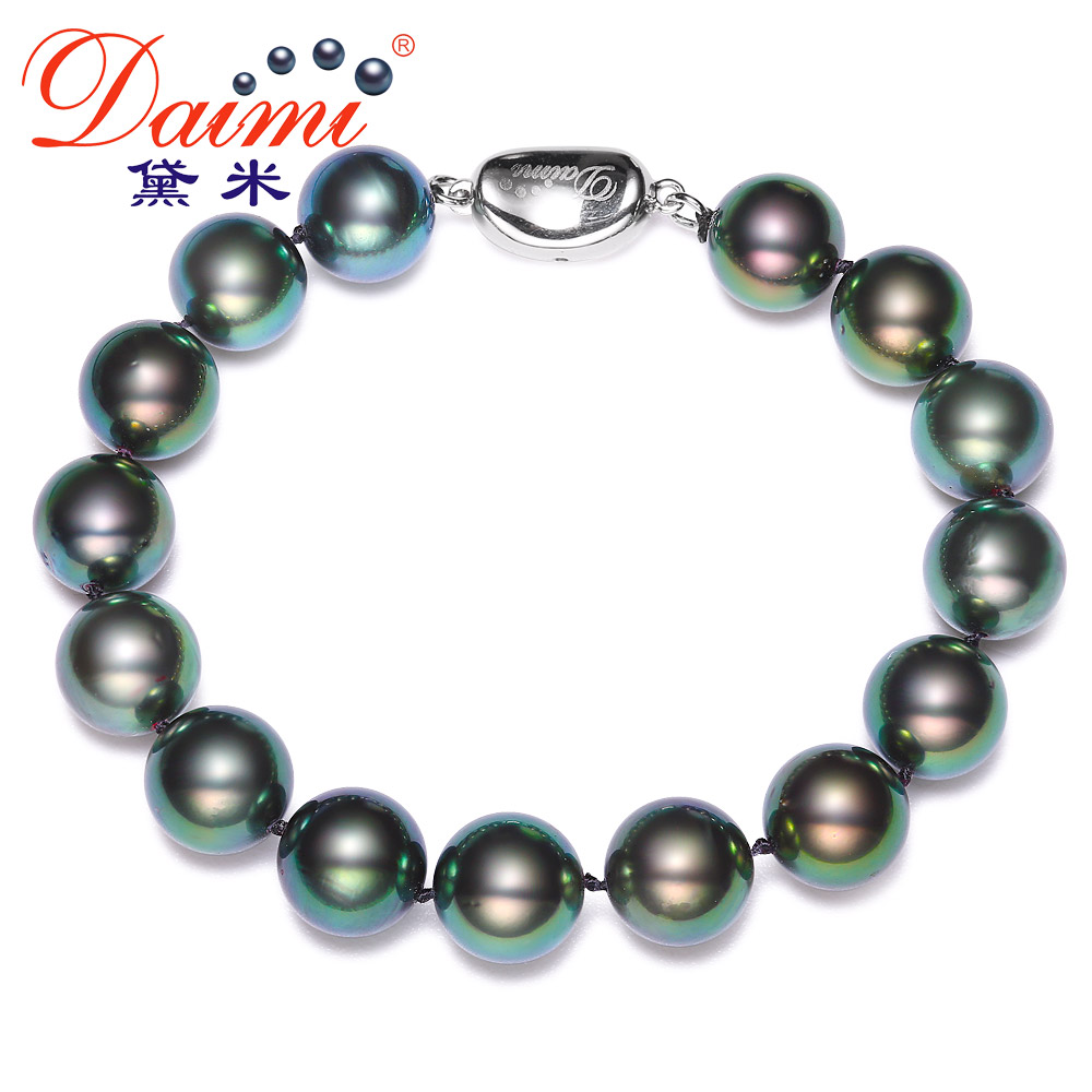 Demi perfect circle jewelry green ghost 10-25ppm 11mm perfect circle glossy [malachite green] tahitian black pearl bracelet 925 Silver