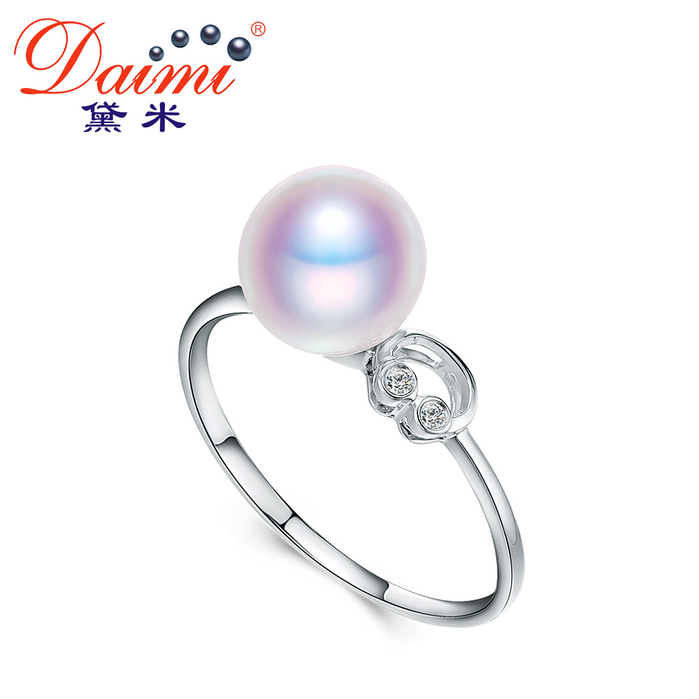 Demi perfect circle jewelry heart dream 8-8. perfect circle akoya japanese akoya pearl ring 5mm k gold diamond genuine