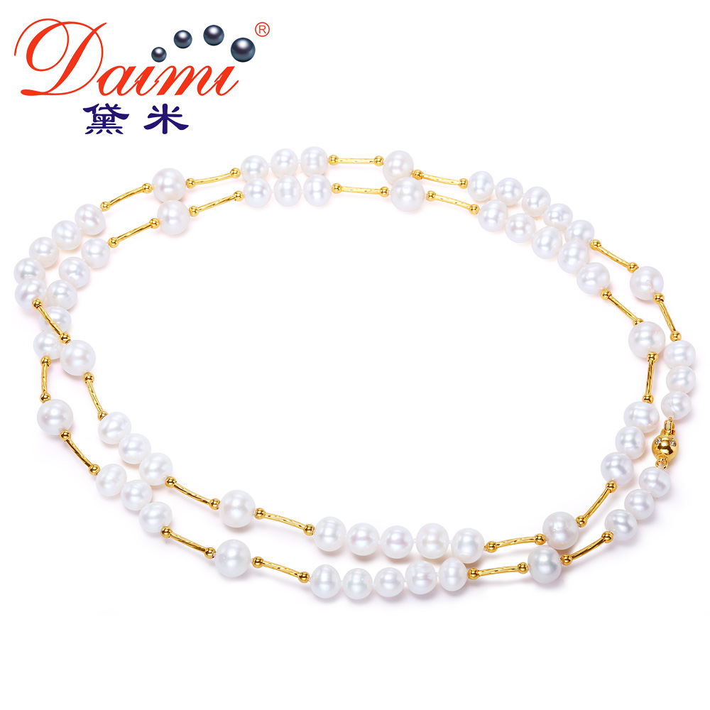 Demi perfect circle jewelryçºpingdi yao 8-40m3 9mm nearly round strong luster day genuine female natural freshwater pearl necklace long sweater chain