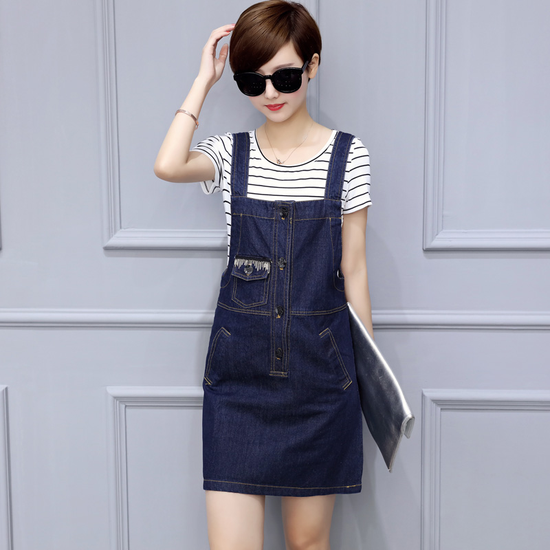 f4dce10fef4 Get Quotations · Denim strap dress and long sections piece korean version  of the summer striped short sleeve denim
