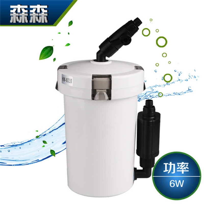 Dense hw-603b 602b \ small mini aquarium fish tank filter outside the cylinder barrel with a cotton filter pump water