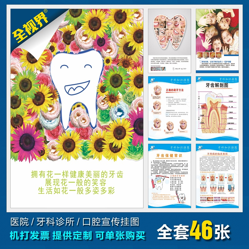 Dental knowledge posters/wall charts dental/dental flipchart/dental knowledge hanging figure/hospital propaganda posters