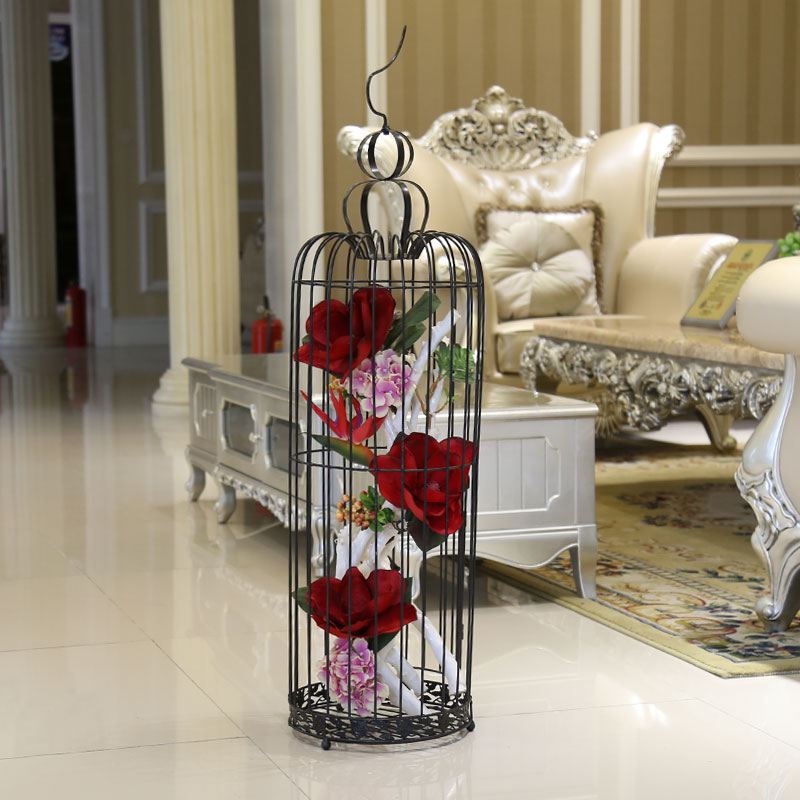 Designer red birdcage decorative flower floral suit artificial flowers artificial flowers large living room floor floral decoration clothing store