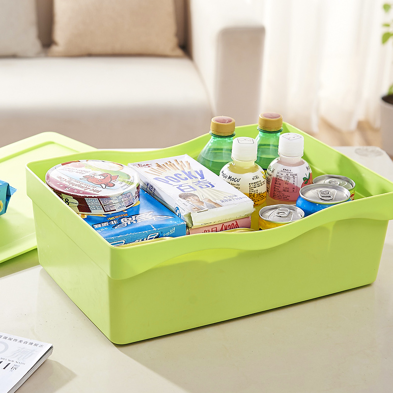 Desktop cosmetic plastic storage box storage basket with a lid trumpet finishing box storage box storage box storage baskets