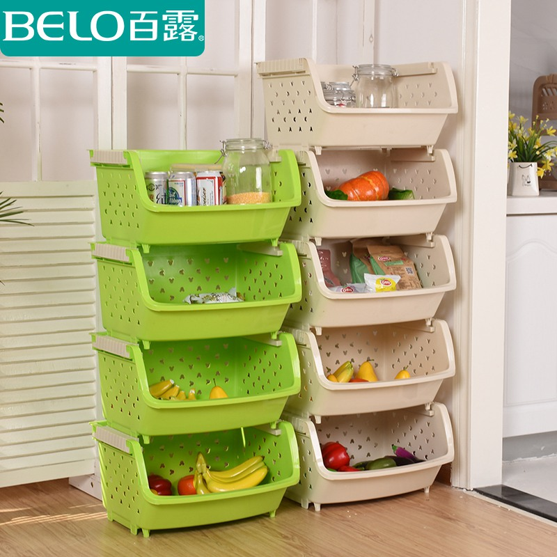 Dew home plastic kitchen shelving storage rack storage basket kitchen storage rack finishing heightening thickened shipping