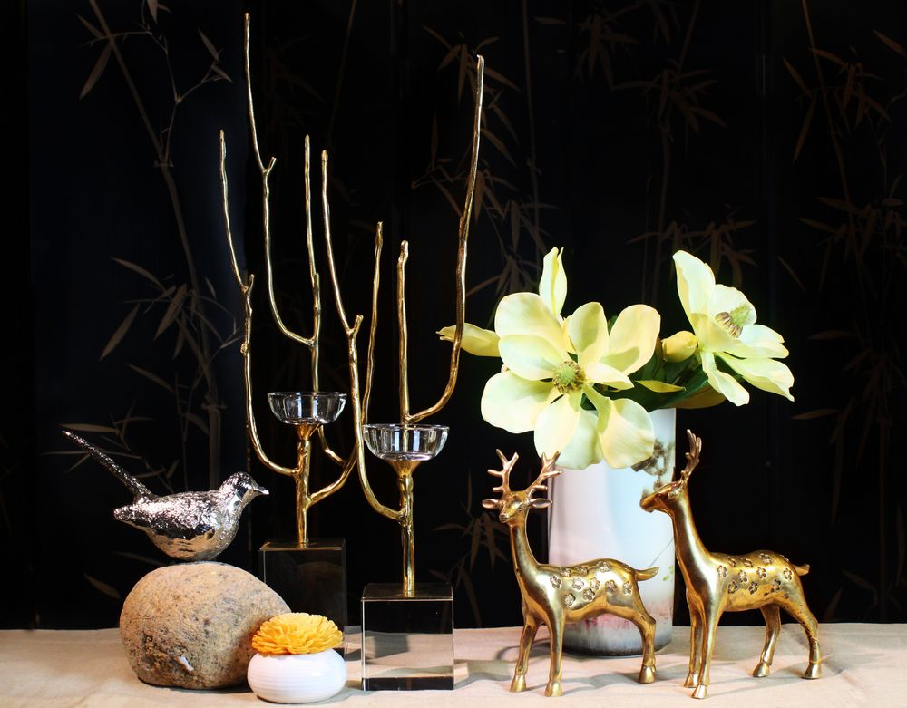 Di high new chinese vestibule combination ornaments ornaments home model room decorated with soft assembly accessories copper deer