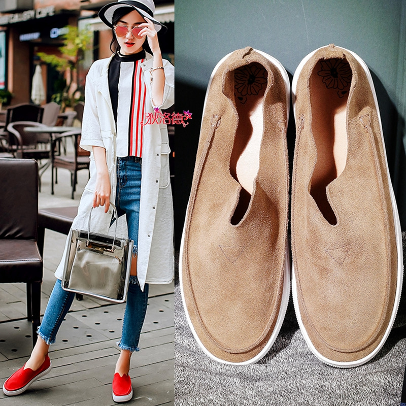 Di luode turn cow leather summer new single shoes with flat round leather nubuck leather casual shoes lazy shoes female black