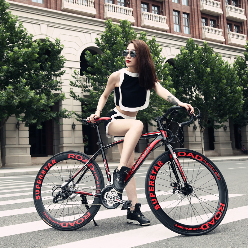 Di xiou male and female students cycling speed bike 21 speed road bike disc brakes car city car