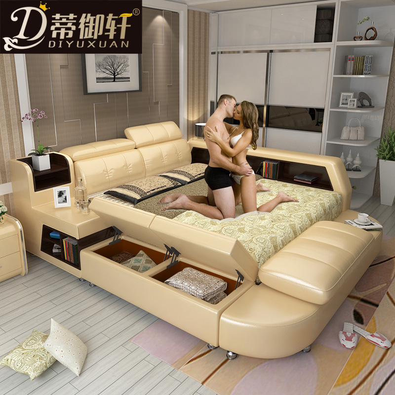 Di yumsun tatami bed leather bed double bed 1.8 m bed soft bed bedroom furniture fashion leather marriage bed