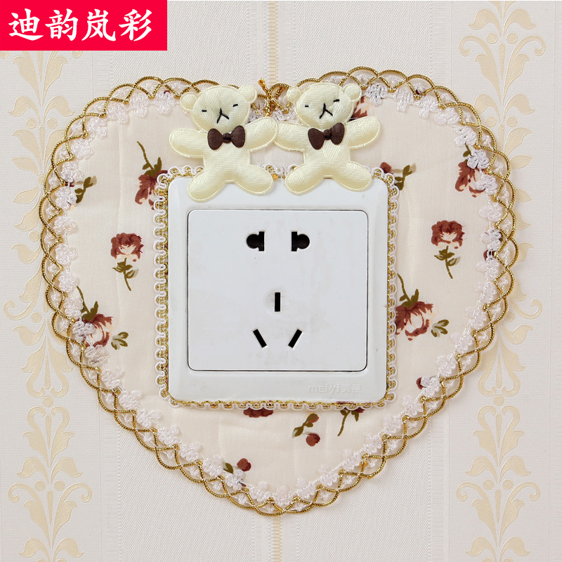 Di yunlan color euclidian creative pastoral fabric switch stickers single open double open three open plug seat cover 6 pieces of wall stickers Free shipping