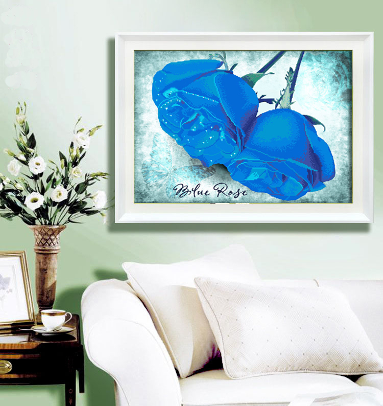 Diamond stitch new living room painting decorative painting blue cube diamond drill full diamond diamond diamond embroidered roses dripping